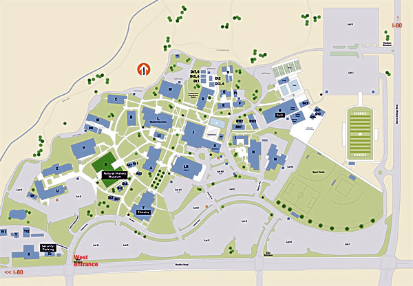 Sierra College map with the Museum (Sewell Hall) in red
